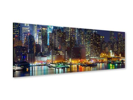 Acrylglasbild Panorama Skyline New York Midtown bei Nacht