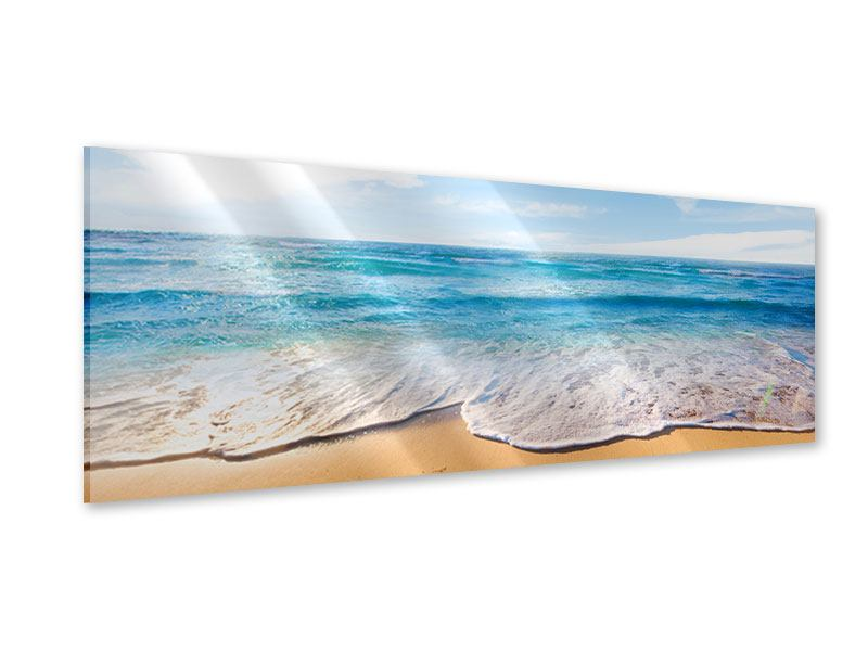 Panoramic Acrylic Print Waves In The Sand