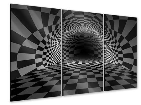 3 Piece Acrylic Print Abstract Chessboard