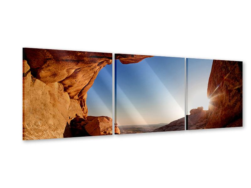 Panoramic 3 Piece Acrylic Print Sunset In Front Of The cave
