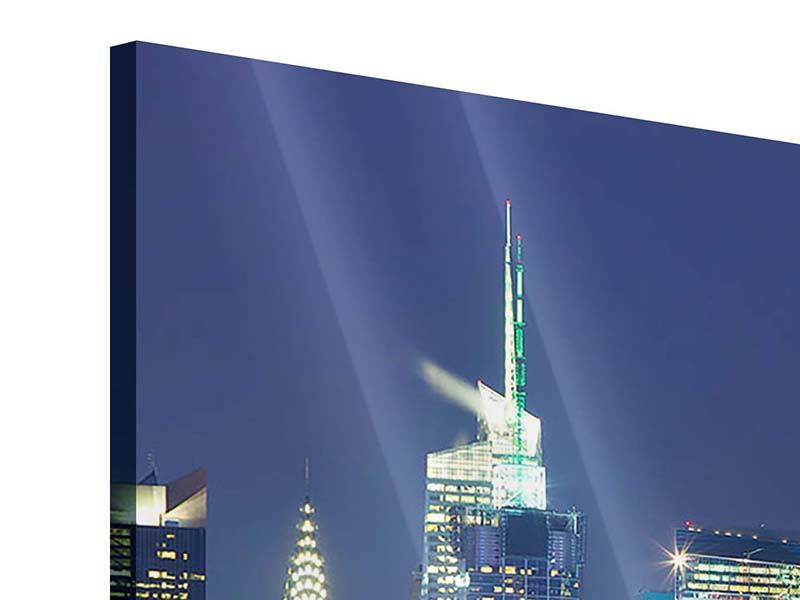 Panoramic 3 Piece Acrylic Print Skyline New York Midtown At Night