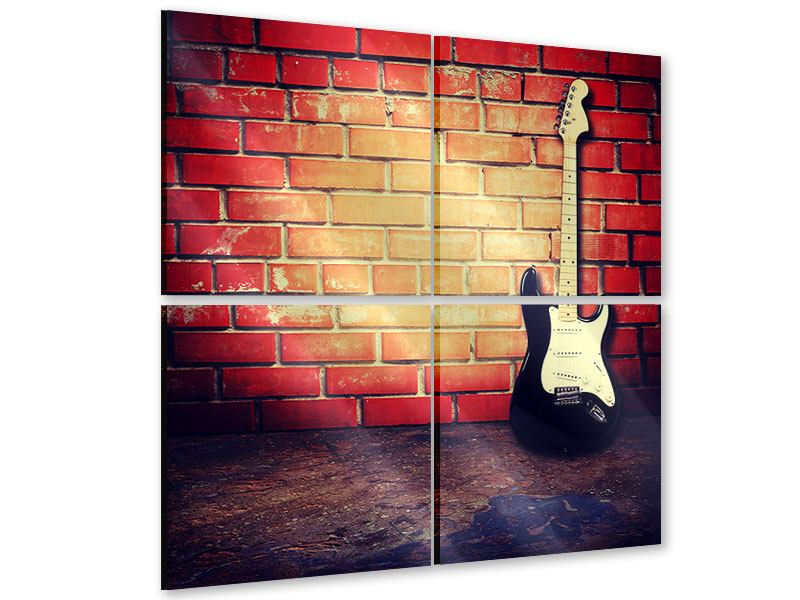 4 Piece Acrylic Print Electric Guitar