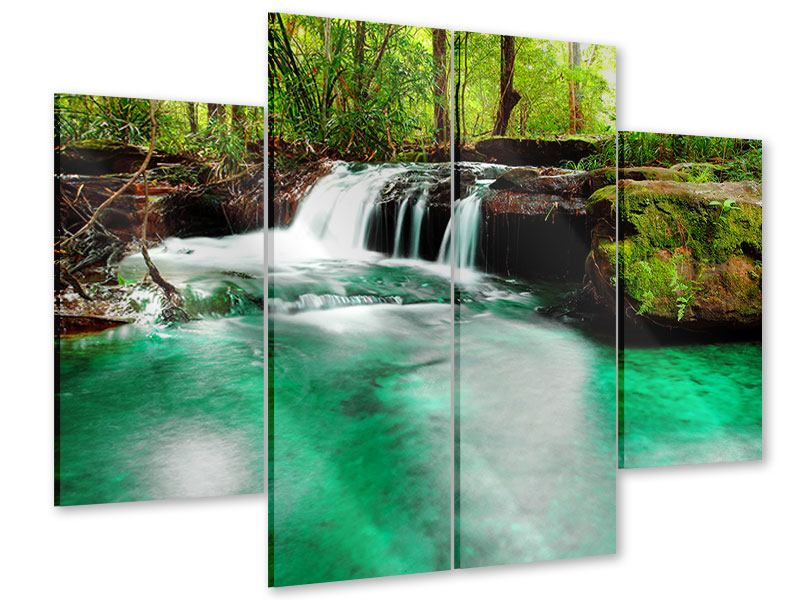 4 Piece Acrylic Print The River At Waterfall