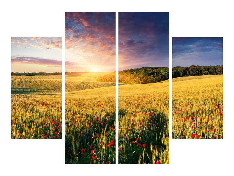 4 Piece Acrylic Print A Flower Field At Sunrise