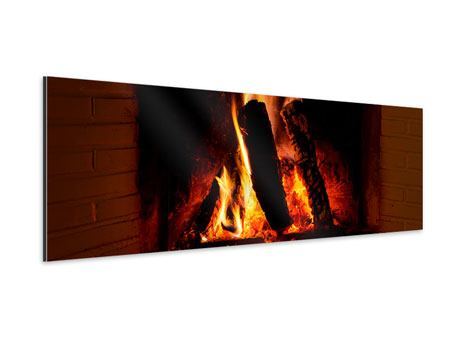 Panoramic Aluminium Print Fire In The Chimney