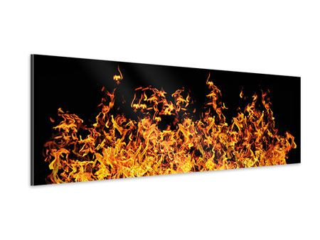 Panoramic Aluminium Print Modern Fire Wall