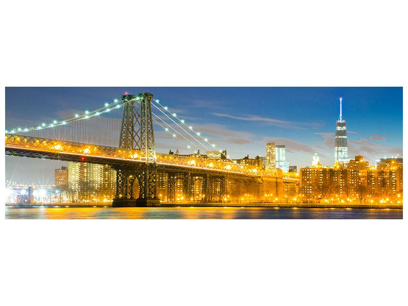 Panoramic Aluminium Print Brooklyn Bridge At Night