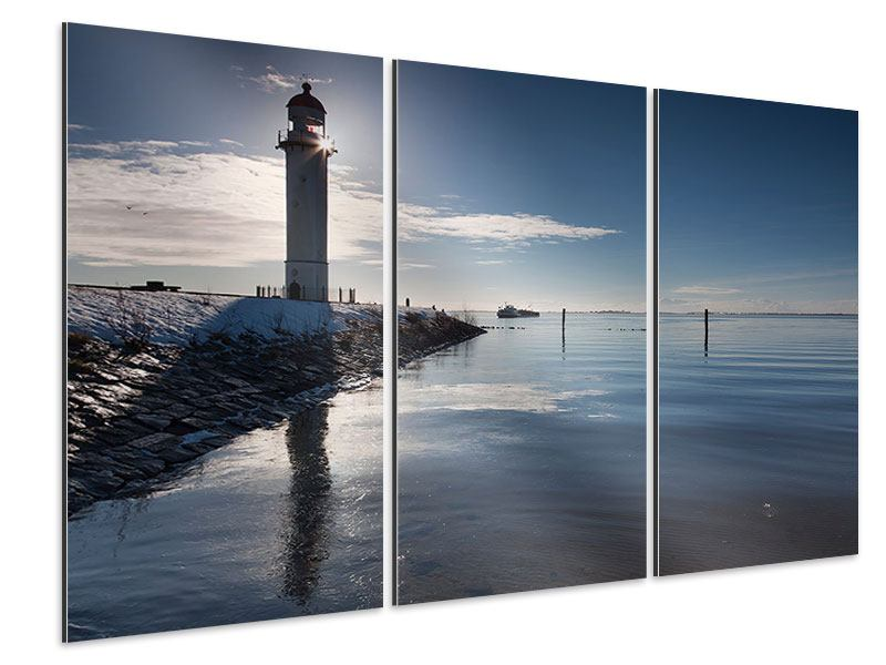 3 Piece Aluminium Print Peaceful Sailing