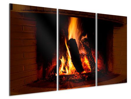 3 Piece Aluminium Print Fire In The Chimney