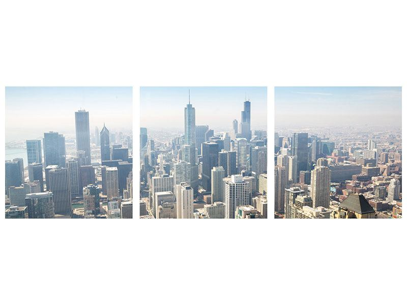 Tableau Aluminium en 3 parties Panoramique Gratte-ciel à Chicago