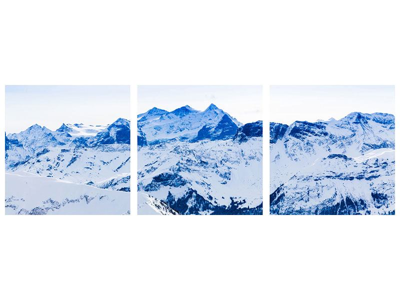 Panoramic 3 Piece Aluminium Print The Swiss Alps