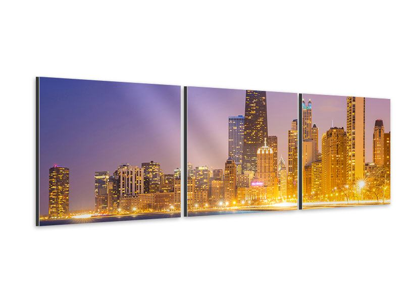 Tableau Aluminium en 3 parties Panoramique Horizon à Chicago la nuit