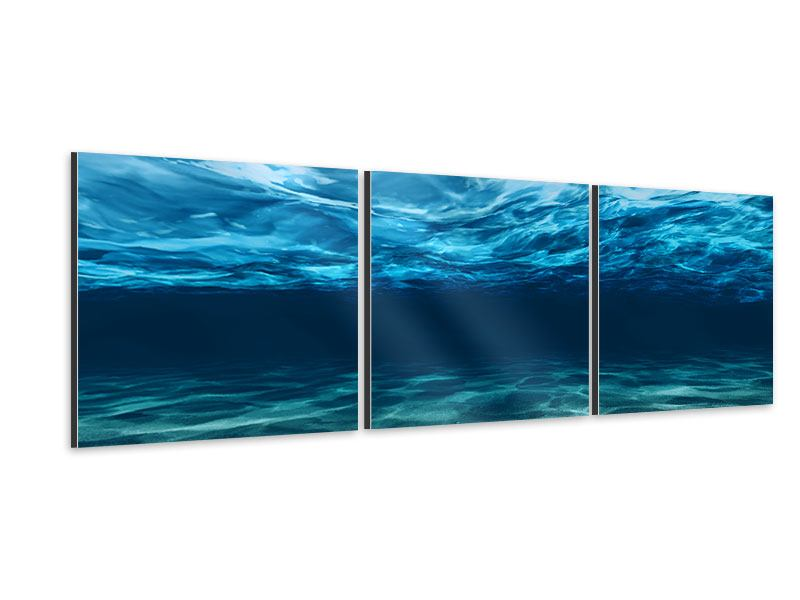 Panoramic 3 Piece Aluminium Print Light Reflections Underwater