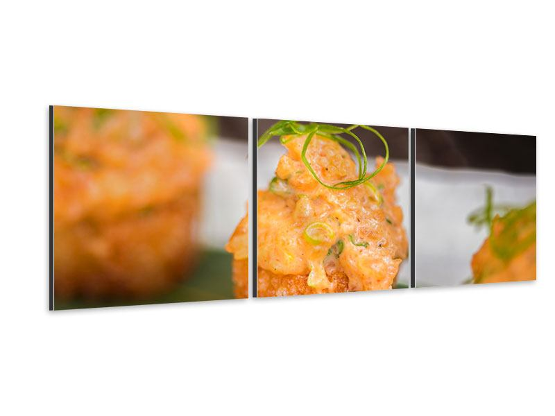 Panoramic 3 Piece Aluminium Print Asian Cuisine