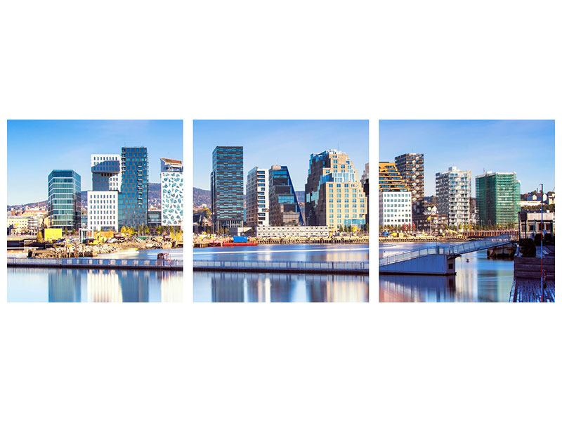 Panoramic 3 Piece Aluminium Print Skyline Oslo