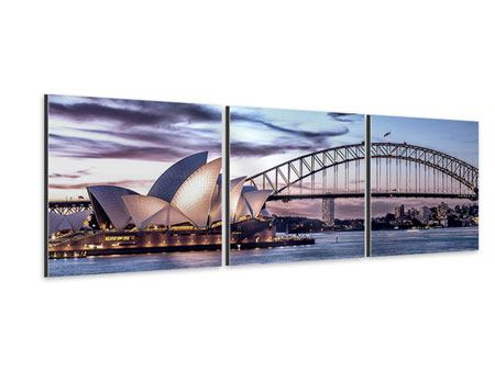 Panoramic 3 Piece Aluminium Print Skyline Sydney Opera House