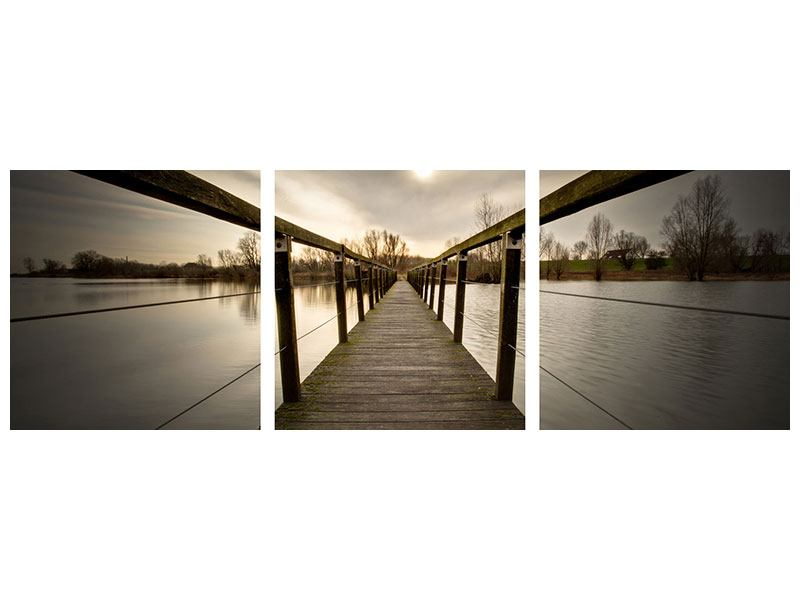 Panoramic 3 Piece Aluminium Print The Wooden Bridge