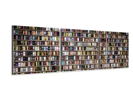 Panoramic 3 Piece Aluminium Print Bookshelf