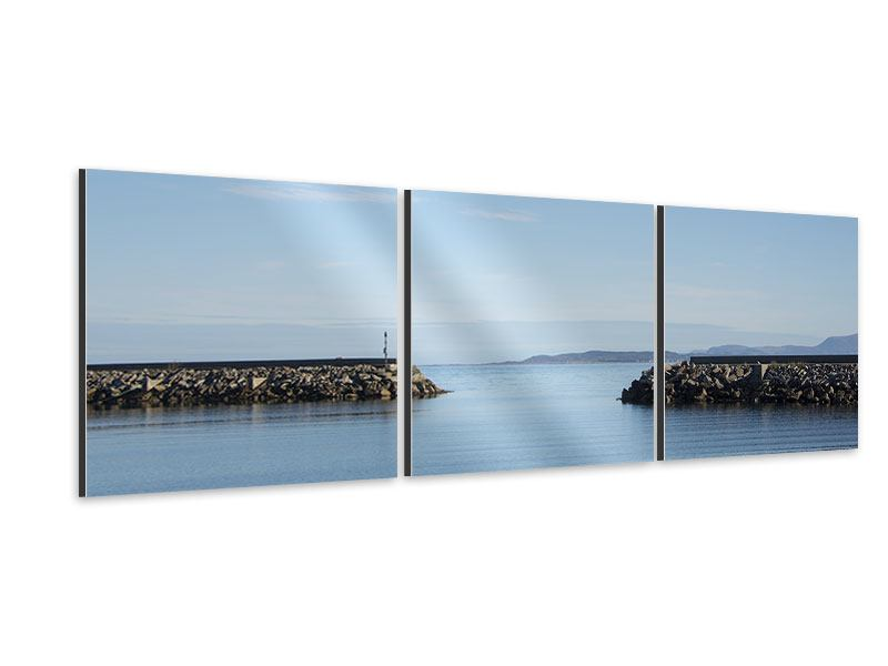 Panoramic 3 Piece Aluminium Print Harbor Walls