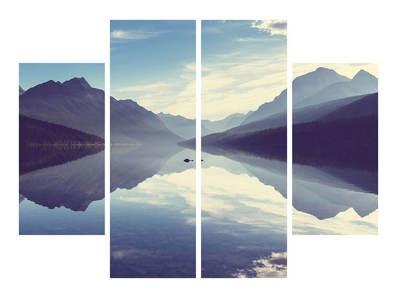 4 Piece Aluminium Print Mountain Reflection