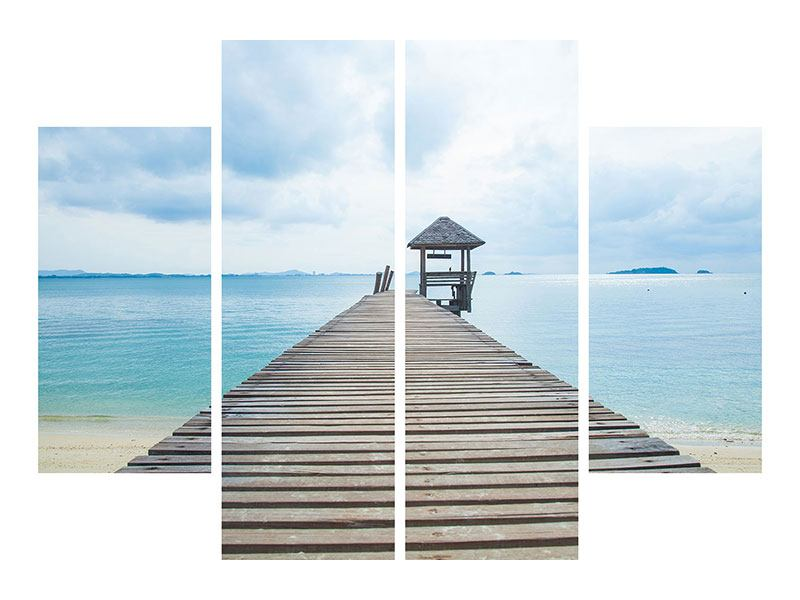 4 Piece Aluminium Print Ocean Footbridge