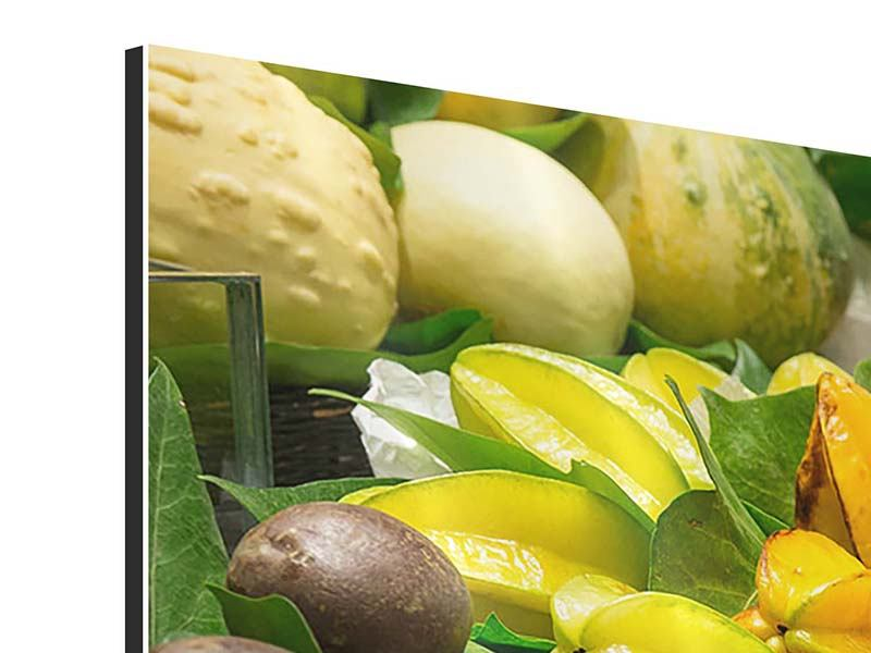 Tableau Aluminium en 5 parties moderne Fruits