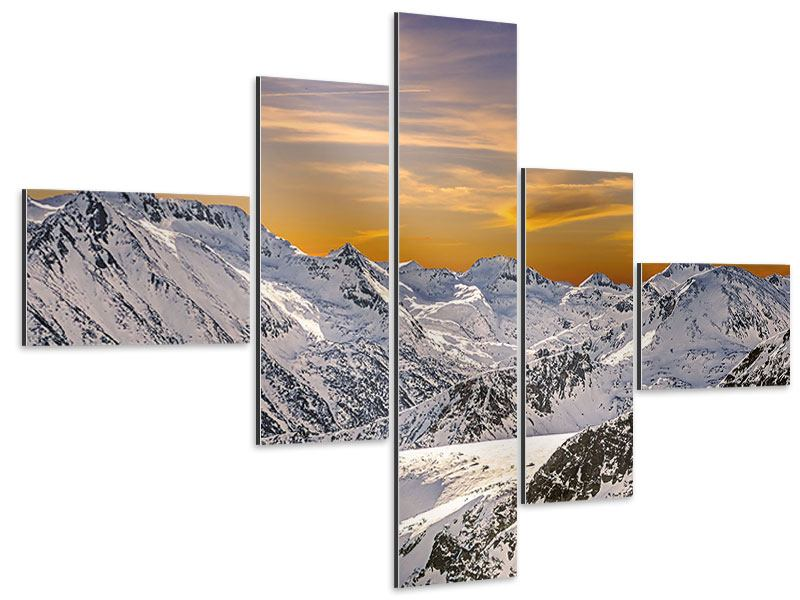 Modern 5 Piece Aluminium Print Sunset In The Mountains