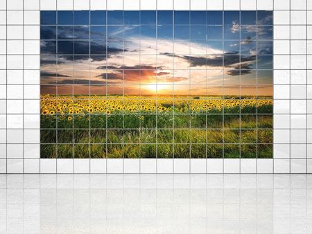 Tile Print A Field Of Sunflowers