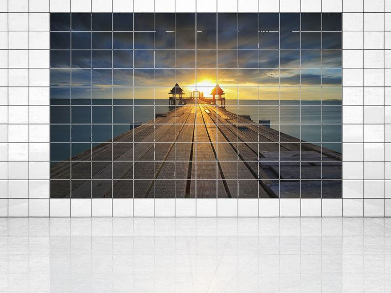 Tile Print Sunset At The Wooden Bridge