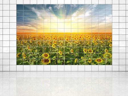 Tile Print A Field Full Of Sunflowers
