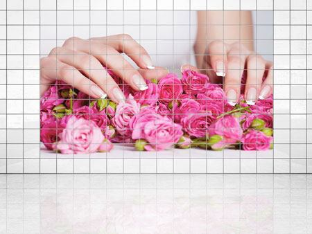 Tile Print Hands Bed Of Roses