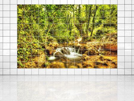 Tile Print Waterfall In The Forest
