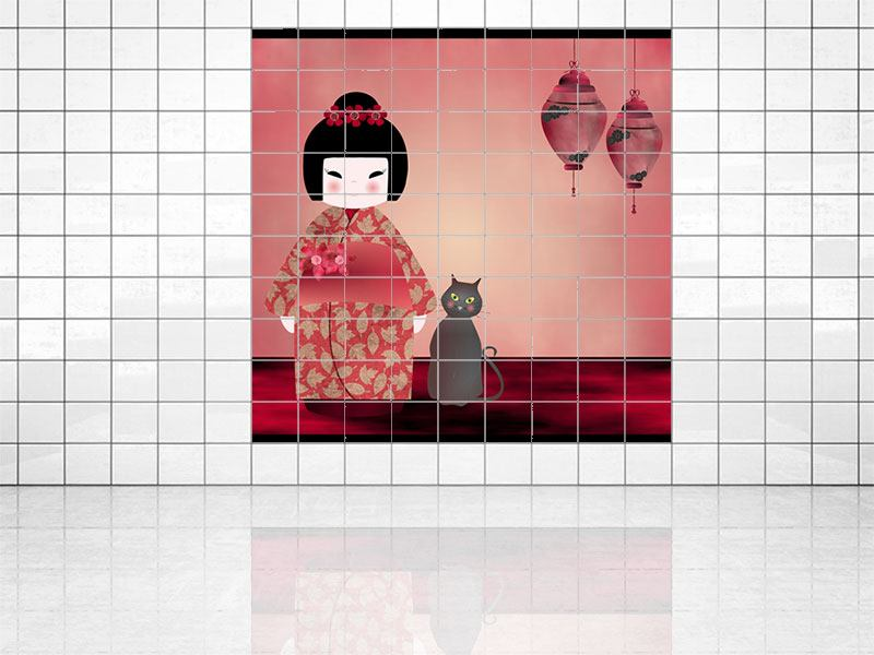 Tile Print Chinese Girl
