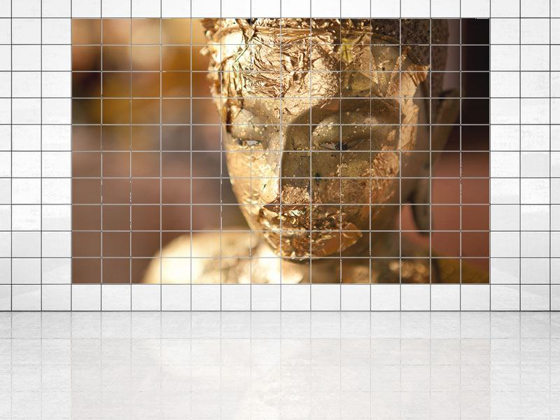 Tile Print Head Of A Buddha