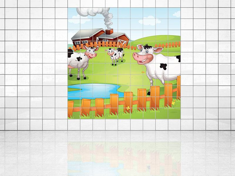 Tile Print The Funny Cows