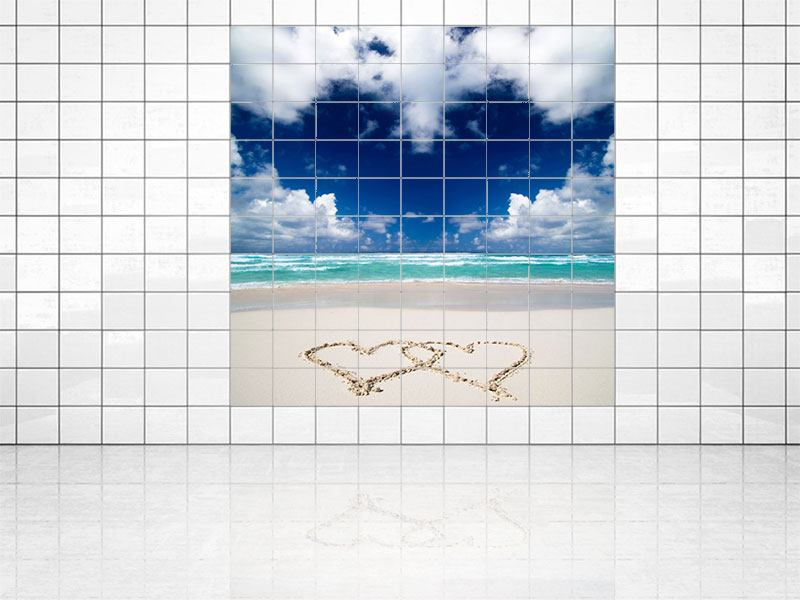 Tile Print Beach Love