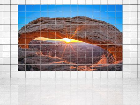 Tile Print Sunset At Mesa Arch