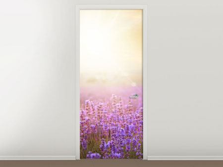 Door Mural Sunset In Lavender Field