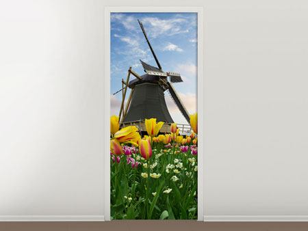 Door Mural The Windmill With Tulips