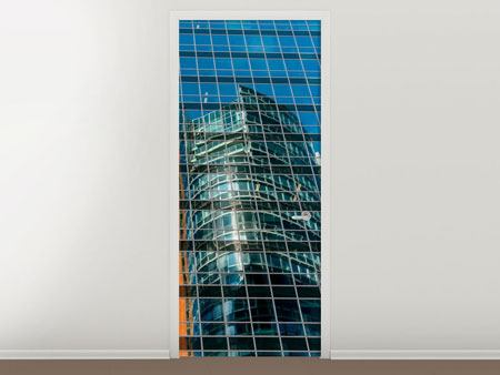 Door Mural Skyscraper Mirror
