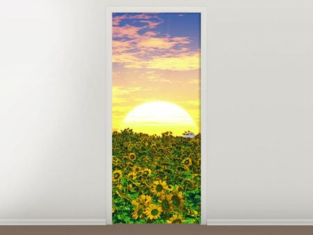 Door Mural Flowers Panorama At Sunset
