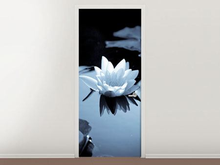 Door Mural Black And White Photograph Waterlily