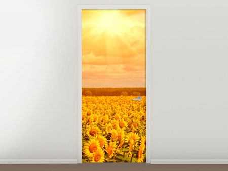 Door Mural Golden Light Sunflower