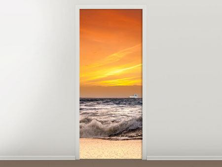 Door Mural Lake With Sunset