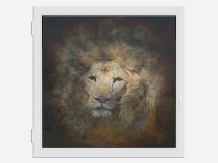Window Print Lion Portrait