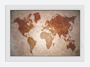 Window Print Vintage Map Of The World