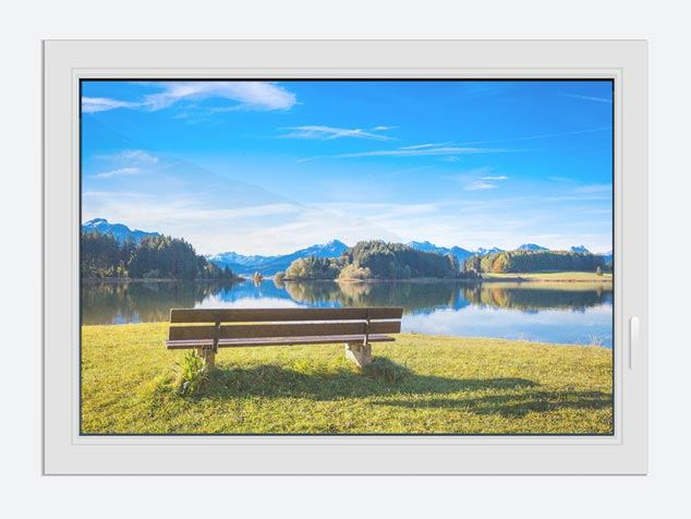 Window Print Bench With Mountain Panorama