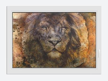 Window Print Portrait Of A Lion