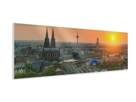 Panoramic Forex Print Skyline Cologne At Sunset