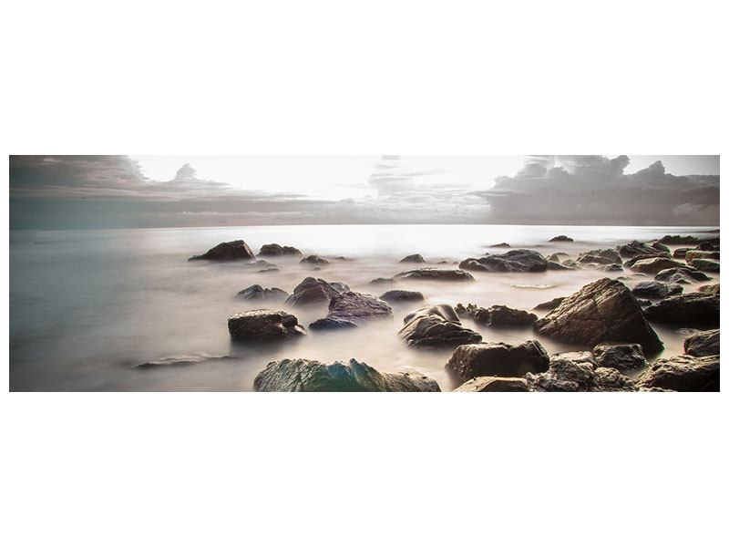 Panoramic Forex Print Stones On The Beach